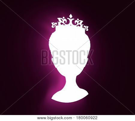 Vintage queen silhouette. Medieval queen front view . Elegant silhouette of a female head. Short hair. Royal emblem. 3D rendering. Neon shine