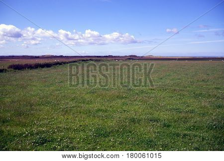 Landscape at the Holy Island of Lindisfarne in Northumberland