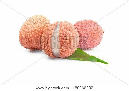 Ltchi chinensis isolated over a white background