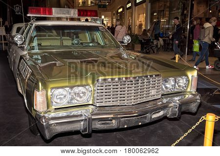 Moscow, Russia - April 02, 2017: Chrysler Newport, Usa, 1975. Retro Car Exibition In Shopping Mall M