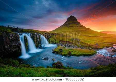 The Kirkjufell volcano the coast of Snaefellsnes peninsula. Picturesque and gorgeous scene. Location Kirkjufellsfoss, Iceland, sightseeing Europe. Unique place on earth. Explore the world's beauty.
