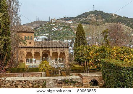 View of Partal Palace in Alhambra garden Granada Spain