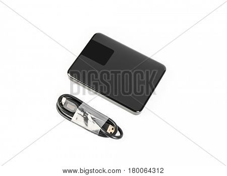 External hard disk drive on white background