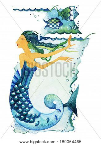 Mermaid as a symbol of the sign of the Zodiac Pisces. Mermaid surrounded by fish and seaweed on a textured background. Watercolor.