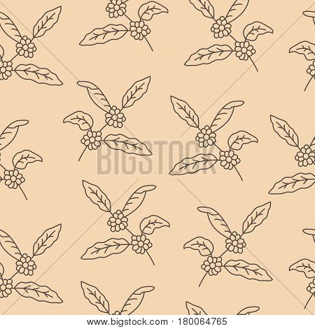 Coffee tree branch with beans. Coffee plant with leaf, berry, coffee bean. Seamless pattern with coffee tree.