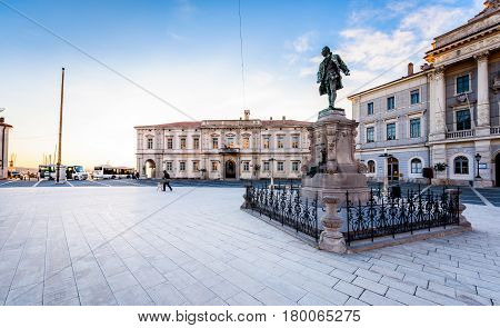 Piran Slovenia - January 7 2017: Tartini square with town hall and City Library in Piran. The main market of Piran - old medieval town and major tourist attraction in Slovenia