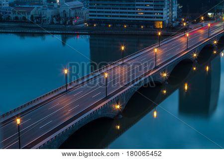 Nigth City Road in Gunma , Japan