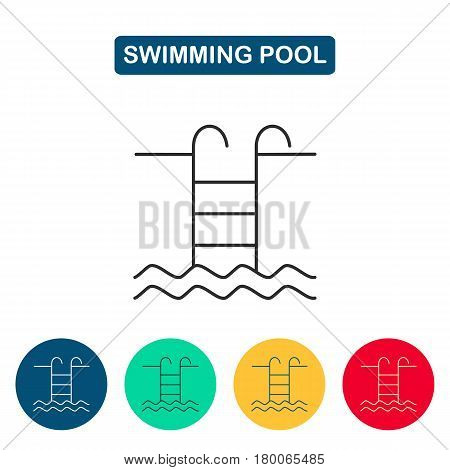 Swimming pool with ladder line icon. Pool icons for web and graphic design. Line style logotype template. Vector illustration.