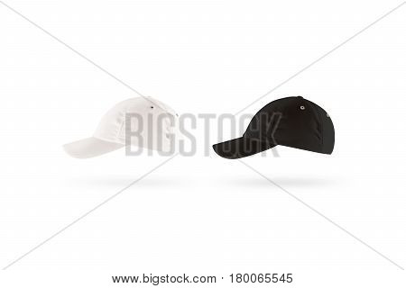 Blank black and white baseball cap mockup set, profile side view. Clear snap back mock up, isolated. Empty snapback design template. Sport hat accessory model. Head wearing dress presenation