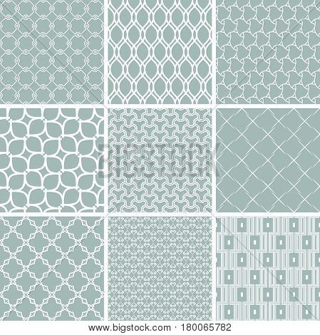 Set of vector seamless geometric patterns for your designs and backgrpounds. Geometric abstract blue and white ornament. Modern ornaments with repeating elements