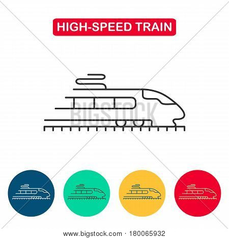 Modern high speed train line icon. Tram sign. Metro train symbol. Travel icons for web and graphic design. Line style logo. Vector illustation.