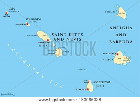 Saint Kitts And Nevis, Antigua And Barbuda, Montserrat, Saba and Sint Eustatius political map. Islands in the Caribbean Sea and parts of the Lesser Antilles. Illustration with English labeling. Vector poster