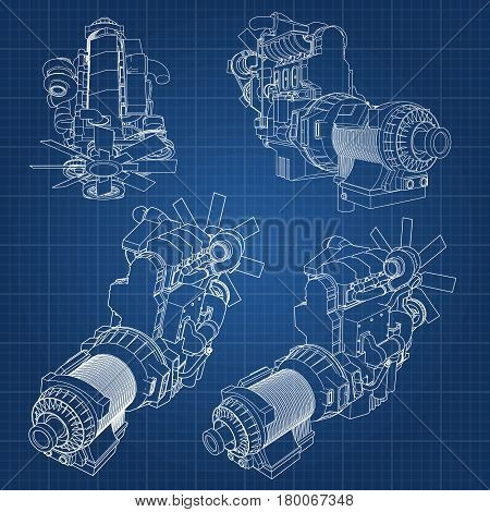 A Big Diesel Engine With The Truck Depicted In The Contour Lines On Graph Paper. The Contours Of The