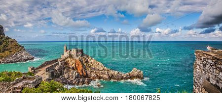 Seascape With Church Of St Peter In Porto Venere, Italy