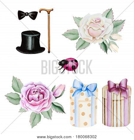 Watercolor clip-art with gift boxes roses accessories in vintage style isolated on white background.