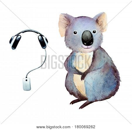 Watercolor koala and player with headphones clip art. Two elements isolated on white background.