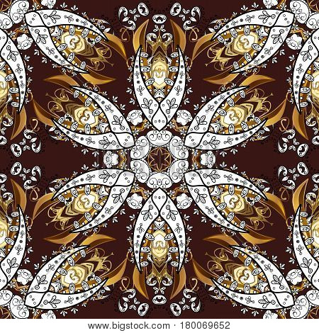 Vector traditional orient ornament. Golden pattern on brown background with golden elements. Seamless classic golden pattern.