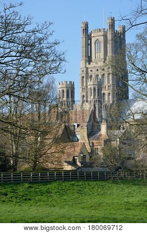 Ely Cathedral church tower from the south