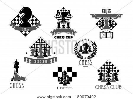 Chess club icon set. Chess board and pieces of king, knight, queen, pawn, rook and bishop with trophy or winner cup, framed by heraldic laurel wreath, ribbon banner, star for chess tournament design
