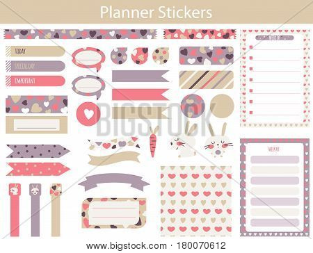 Planner stickers with cute hare carrot and hearts In simple kids cartoon style. Weekly Planner pages.