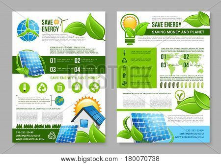 Save energy brochure template. Saving energy tips for eco green house poster with solar energy panel, light bulb with sun and green leaf, wind turbine and recycle symbol. Ecology themes design