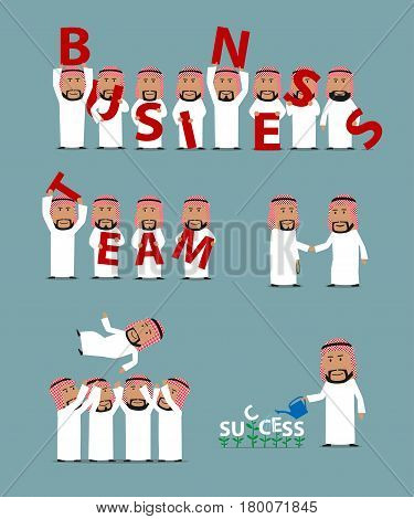 Business success, teamwork and partnership concept set. Arab businessmen in national clothes with letters Business Team, celebrating success, growing success like a plant, business partners handshake