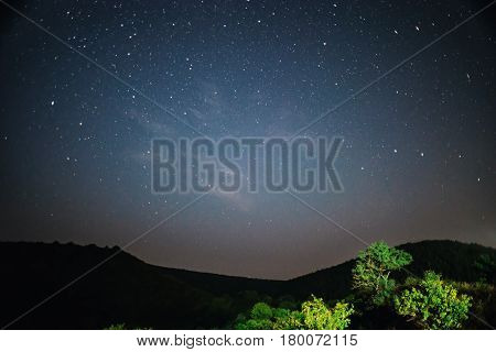 A Clear Night Sky With A Hill And Trees In The Foreground