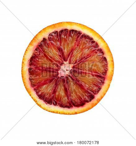 Blood red orange slice on white clipping path