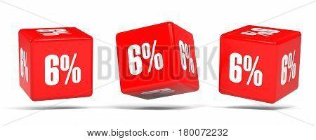 Six Percent Off. Discount 6 %. Red Cubes.