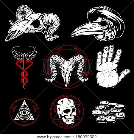 Hand drawn esoteric emblems and occult attributes with pyramid wings all seeing eye  and human palm on black background flat vector illustration