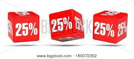 Twenty Five Percent Off. Discount 25 %. Red Cubes.