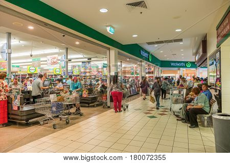 Charters Towers Australia - March 27 2017: Many shoppers stocking up with last minute supplies and necessities in preparation for Cyclone Debbie due to cross the coast in the next day