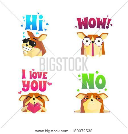 Set of four isolated corgi compositions of lap dog images with hearts stars and text decorations vector illustration