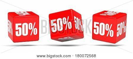 Fifty Percent Off. Discount 50 %. Red Cubes.