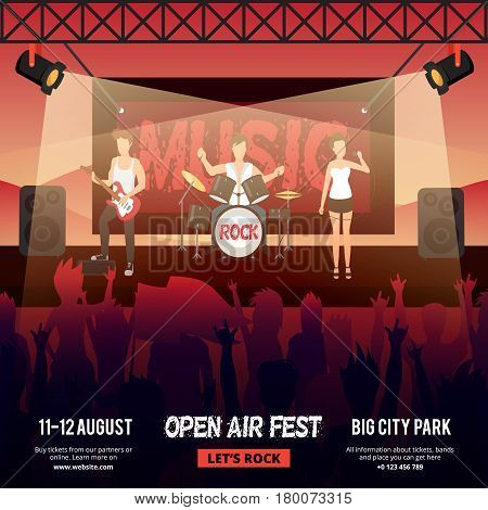 Festival square banner with female-fronted rock music band performing on stage in front of audience vector illustration