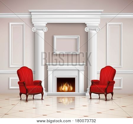 Realistic classic interior design with fireplace, moldings, columns and red armchairs on beige floor 3d vector illustration