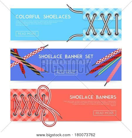 Colorful horizontal banners set with various shoelaces flat isolated vector illustration