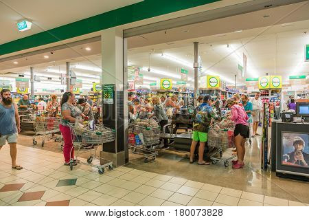 Charters Towers Australia - March 27 2017: Many shoppers stocking up with emergency supplies in preparation for Cyclone Debbie due to cross the coast in the next day