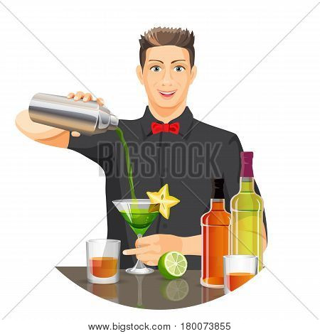 Male bartender making cocktail by pouring liquid from silver bottle in glass with green drink. Vector flat realistic picture with white background of party beverage concept with traditional elements
