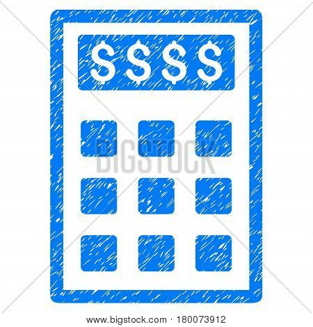 Grunge Book-Keeping Calculator rubber seal stamp watermark. Icon symbol with grunge design and scratched texture. Unclean vector blue emblem.