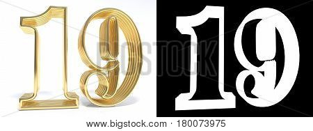Golden number nineteen on white background with drop shadow and alpha channel. 3D illustration