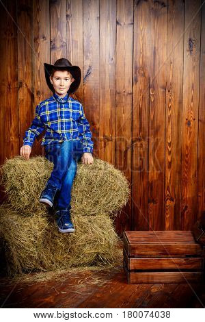 Portrait of a cute nine year old boy posing near the hay on the background of wooden wall. Western style, cowboy. Kid's fashion. Clothes for children.