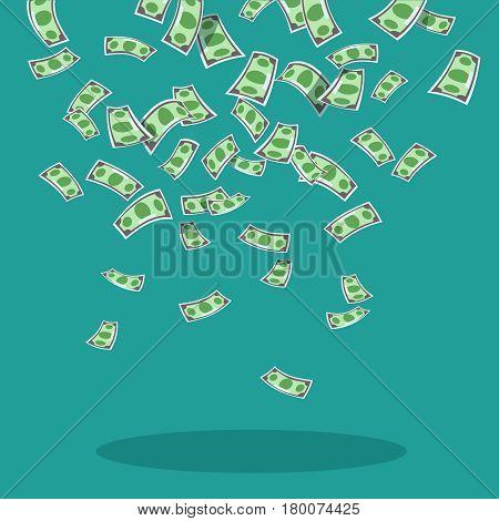 Vector illustration of falling money banknotes dollars blue background. Design concept money rain flat style. Abundance luck and success