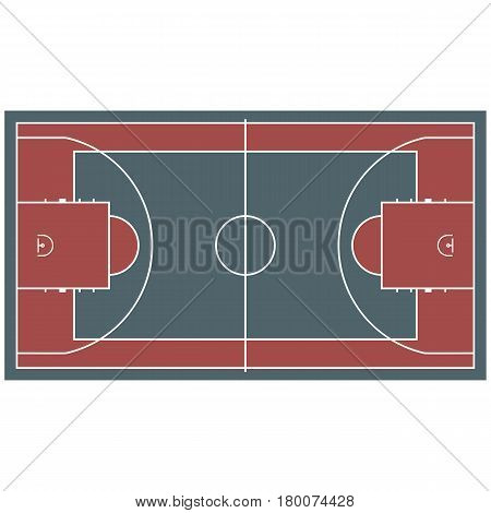 Colorful baseball court top view icon isolated on white. Vector illustration of place with round light lines marking some places for each participator for playing games. Special sport field template
