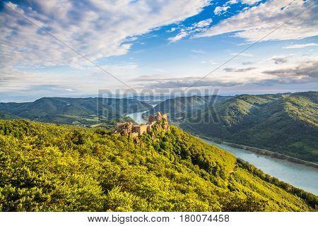 Beautiful Landscape With Aggstein Castle Ruin And Danube River At Sunset In Wachau, Austria