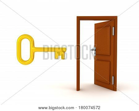 3D Illustration of a key and a door. The key is shiny and golden.