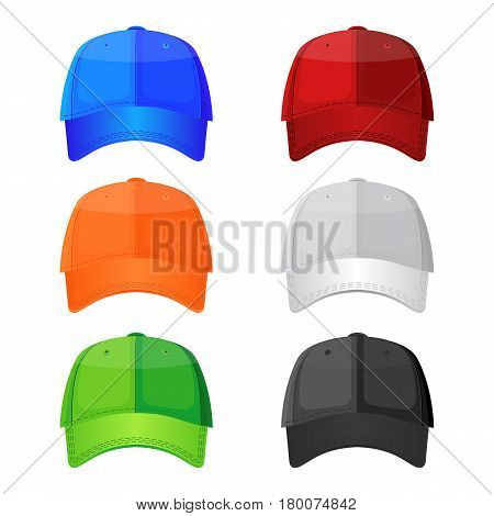 Colorful baseball caps isolated on white background. Stylish sportive headwear, athlet accessory which protects head from sun, vector illustration in flat style design