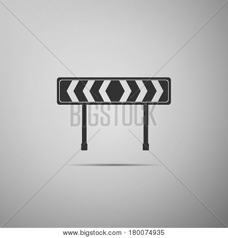 Traffic sign road. Road block sign. Safety barricade symbol flat icon on grey background. Vector Illustration