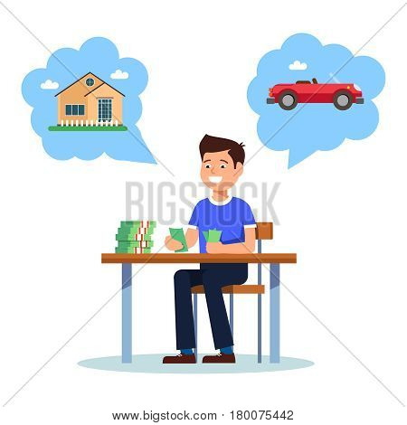 Young businessman sitting at the table and count money profit growth on white background. Vector illustration of young man smiling happy profit growth and wants to buy house and car