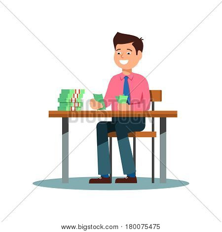 Young businessmen in a suit sitting at the table and count money profit growth. Vector illustration of businessmen smiling happy to profit growth on white background